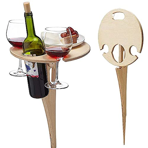 Portable Outdoor Wine Table,Round Folding Wine Table,Wooden Picnic Camping Table Beach Table ,Champagne Picnic Table for Outdoors Park Lawn Beach Picnic Wine Glass Holder Travel