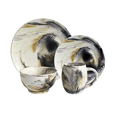 American Atelier 1562505-16 Marble Dinnerware Set, Tortoise Gray