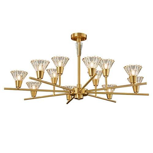 Lámparas de techo de iluminación colgante de araña moderna de cobre de 12 cabezas, elegante accesorio de lámpara colgante LED para vivir-luz blanca