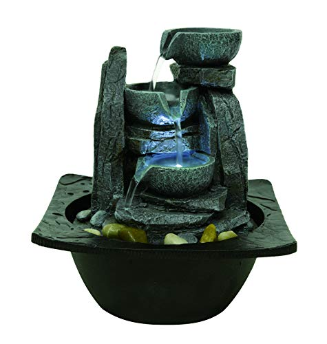 Willhome Water Fountain Indoors 3-Tier Flowing Bowls Water Fountain Round Stone Resin Table Fountain with LED Lights