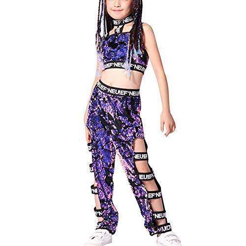 Yiliankeji Disfraz Danza Lentejuelas Diseo Moderno - Ropa Conjunto de Disfraz de Jazz Hip Hop Moderno para Nias Baile Callejero Traje de Rendimiento de Etapa