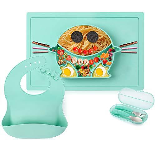 GBlife Placa de Bebé Platos de Silicona Alimentaria para Bebé Niños 4 en 1 Placa Antideslizante con Cuchala Tenedor y Baberos Anti-vuelco Secado Rápido a Prueba de Aceite