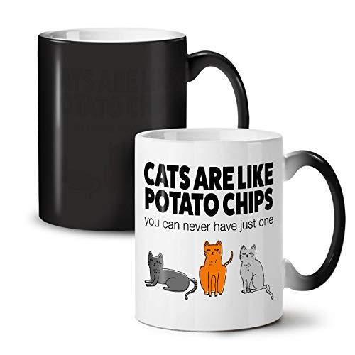 Wellcoda Katzen Kartoffel Pommes Frites Farbwechselbecher, Lustig Tasse - Großer, Easy-Grip-Griff, Wärmeaktiviert, Ideal für Kaffee- und Teetrinker
