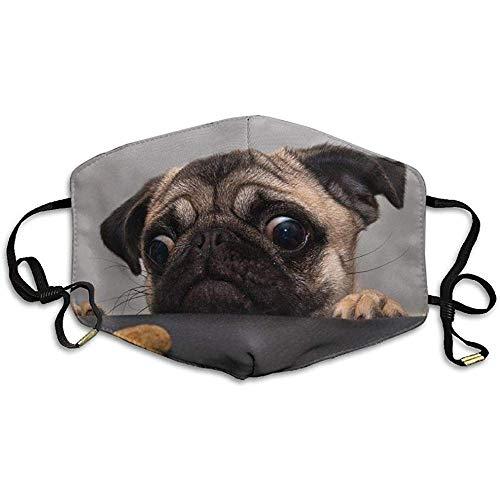 Mops Hund traurig Blick auf Kekse Gedruckte Maske für Männer und Frauen Polyester Staubdichte Atmungsaktive Maske