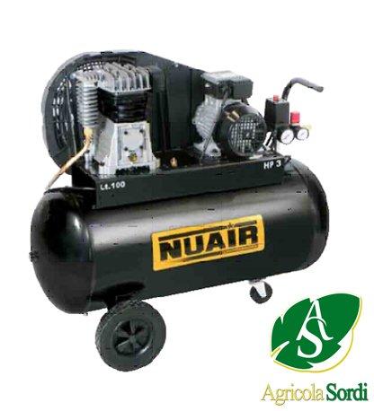 NUAIR COMPRESSORE ARIA 2 PISTONI B2800B 100LT 3 HP RUOTE, PARACINGHIA 10 BAR