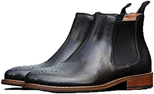 Jincosua Chelsea Stiefel für Herren, echtes Leder, Klassische Weißhe Sohle, bequem, langlebige Stiefel, Schwarz UK 9