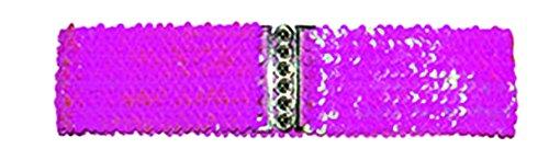 Halloweenia - Kostüm Accessoire- 80er- 90er Jahre- Disko Gürtel- Pailletten besetzt, Pink