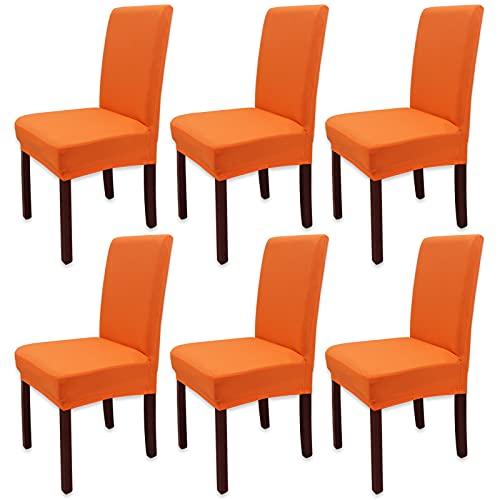 Leeyunbee 6 Piezas Fundas de Sillas de Comedor, Elásticas y Modernas Funda Asiento Silla, Desmontables Lavables Cubiertas para Sillas para Comedor Hotel Banquete de Boda Decoración (Naranja)