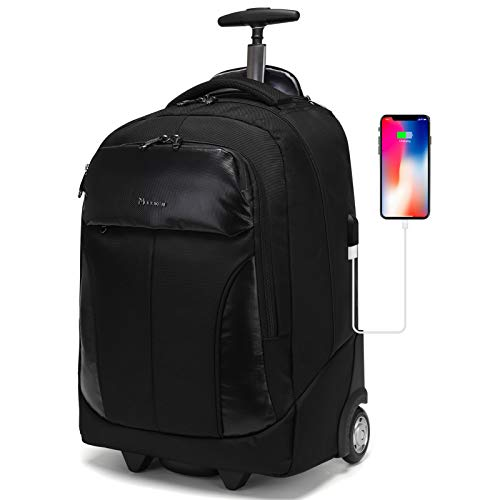 Rolling Backpack for Women Men, Carry On Wheeled Laptop Bag Luggage Suitcase with USB Charging Port for College Student/Travel/Business Work (Black)