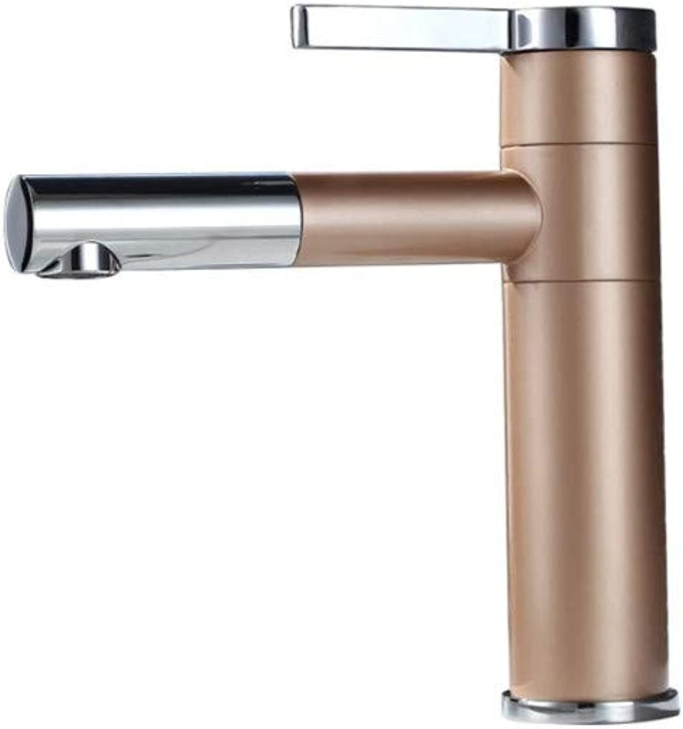 Faucetchampagne gold Basin Faucet Waterfall Bathroom 360 Degree redate Single Handle Sink Mixer Tap,Champagnegold,Short