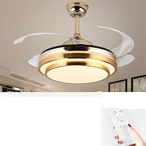 Ventilador de techo, moderno ventilador de techo LED con iluminación, para cocina, comedor, sala de estar, estilo nórdico moderno para el hogar gran energía eólica