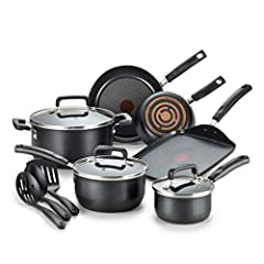 Set includes: 7.75 inch and 11 inch fry pans, 1 quart and 2 quart sauce pans with lids, a 5.5 quart dutch oven with lid, a 10.25 inch griddle, and a spoon, ladle, and slotted spatula Dishwasher safe: Easy to clean and dishwasher safe cookware set; No...