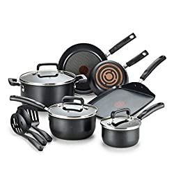 top rated T-fal signature non-stick cookware set, dishwasher compatible, 12 pieces, black 2021