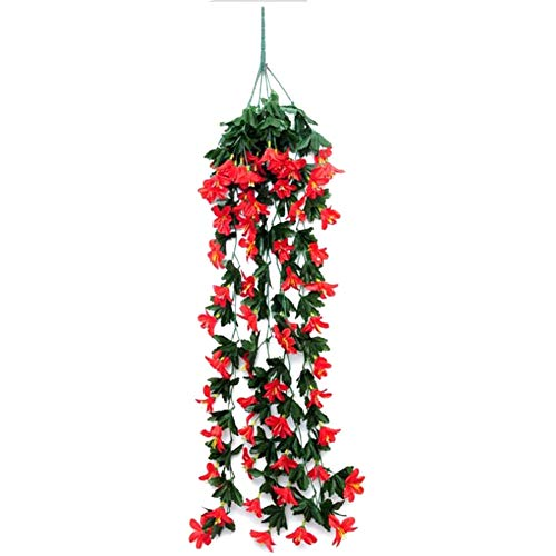 XISENOCI Artificial Flowers,2 Bouquets Artificial Mini Lily Orchid Flower Home Wedding Hanging Decoration Beautiful, Artificial Flower, Reusable, Hanging