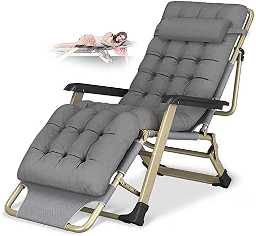 Reclining Chair Folding Zero Gravity Sun Loungers Bed Recliner Lounge Chair Oversize XL, Deck Chairs Cotton Cushion for Garden Outdoor Patio Lounge Chair Loading Up To 300Kg with Head Pillow