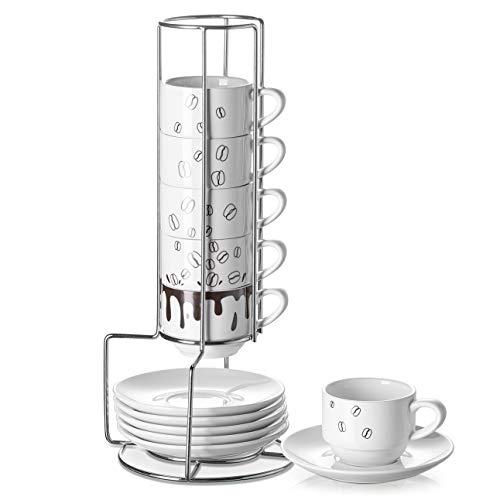 DOWAN Espresso Cups with Saucers and Metal Stand - 2.8 oz (85mL) Porcelain Espresso Cups, Ceramic Demitasse Cups, Stackable Espresso Mugs for Espresso, Coffee, Latte, Cafe Mocha, 12 Pcs, White