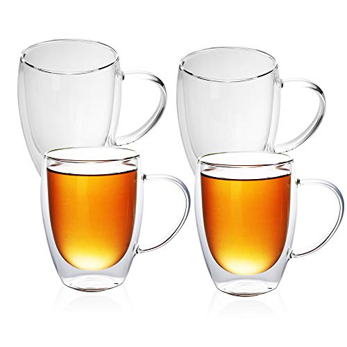 Intirilife 4X Doppelwandiges Thermo Glas Set in 300-400ml – Mundgeblasen isoliert für Latte Macchiato, als Teeglas oder Kaffeeglas Spülmaschinen geeignet mit Henkel