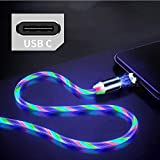 Câble de charge magnétique de type C Câble USB à aimant 2.4A avec lumière LED qui coule...