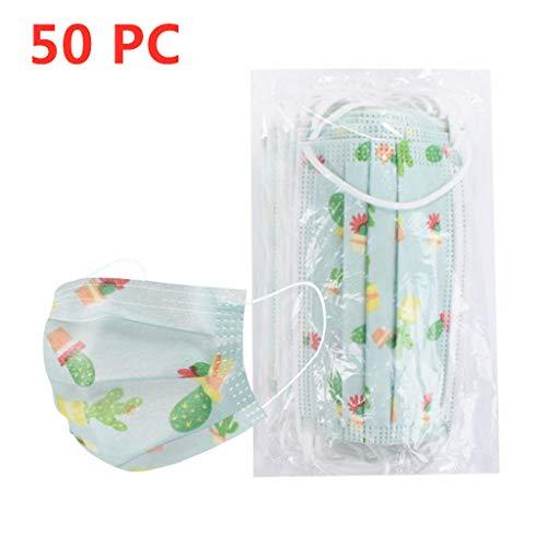 MaNMaNing Niños Protección 3 Capas Transpirables con Elástico para Los Oídos Pack 10/20/50 unidades 20200708-MaNMaN-C10/50 (50, Verde)