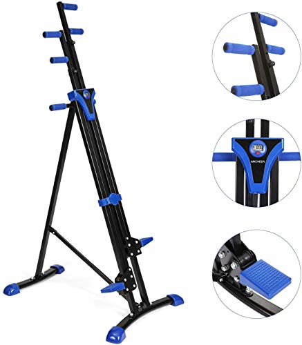 OppsDecor Vertical Climber 2 in 1 Climbing Stepper Gym Exercise Fitness Equipment Cardio Workout Training Machine (US Stock) (Blue)