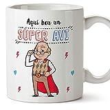 MUGFFINS Taza Abuelo (En Catalán) -'Aquí beu un Súper Avi' - Taza Desayuno/Idea Regalo Día del Padre. Cerámica 350 mL