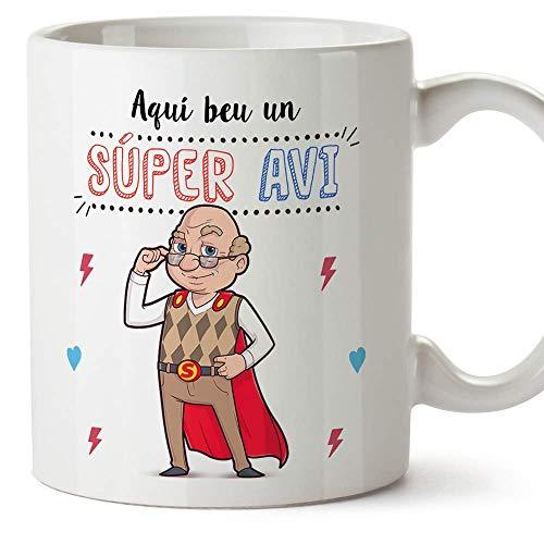 """MUGFFINS Taza Abuelo (En Catalán) -""""Aquí beu un Súper Avi"""" - Taza Desayuno/Idea Regalo Día del Padre. Cerámica 350 mL"""