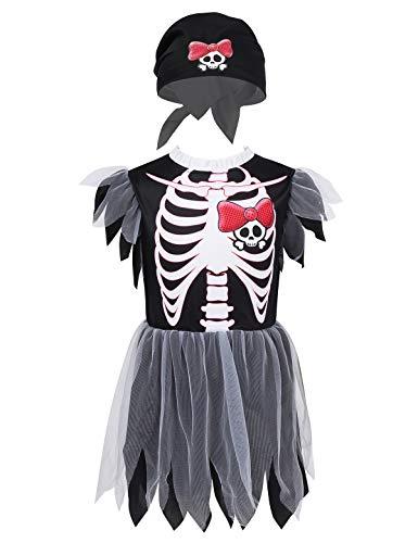 Freebily Pirata Costume Carnevale Bambina Piratessa Bimba Scheletro Halloween Vestito Tutu da Ballo Moderno con Cappello Basco Capitano Pirata Travestimento per Foto Nero 6-8 Anni