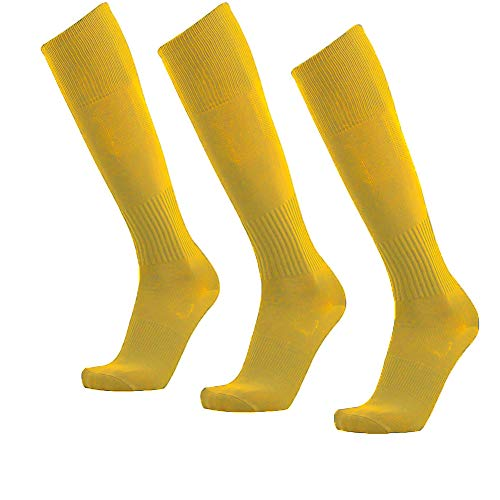 Unisex Athletic Knee High Breathable Compression Solid Tube Soccer Football Sport Socks 3/12 Pairs, Yellow-unisex 3 Pairs, Large