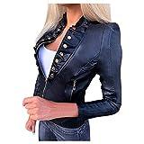 L9WEI Chaqueta de piel para mujer con cremallera, abrigo corto con bolsillos, moda para exteriores, primavera y otoño, Negro , S
