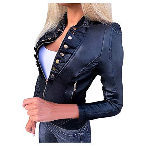 Asymmetrical - Giacca in pelle da donna con fori e scollo a V, colletto alto, molti dettagli e zip Black-3 S