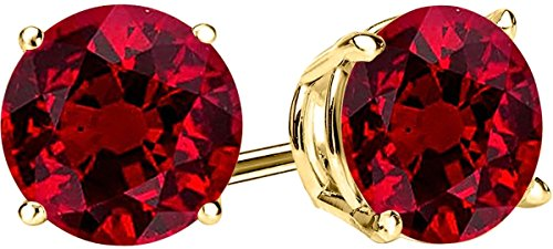 1/2 0.5 Carat Total Weight Ruby Solitaire Stud Earrings Pair 14K Yellow Gold Popular Premium Collection Push Back