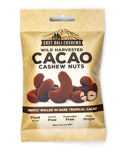 East Bali Cashews - Cacao Coated Cashews - Rich Dark Chocolate Flavor - Nut Snack Pack - Protein Packed, Gluten Free, Non-GMO, Vegan Friendly - 10 Count - 1.23oz
