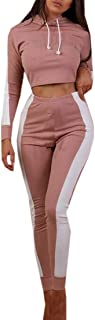 FSSE Women 2 Pcs Casual Color Block Hooded Crop Top and Pants Sports Tracksuits