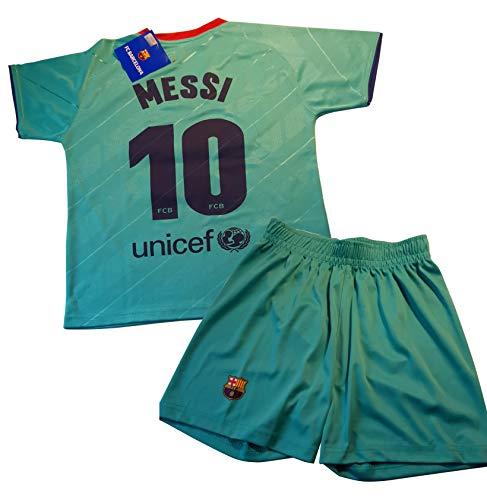 Conjunto Camiseta y pantalón 3ª equipación FC. Barcelona 2019-20 - Replica Oficial con Licencia - Dorsal 10 Messi - 8 años