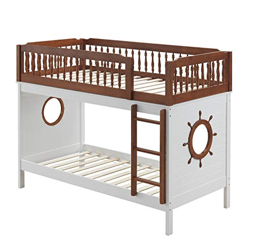 Ship Shape Bunk Bed, Twin Over Twin Bunk Beds Frame Wood with Fixed Front Ladder, Guard-Rail (Top Bed) and Decorative Turned Spindles, Ship Wheel Design, Oak and White, Us Stocks