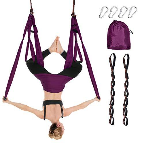 Aerial Yoga Swing Set Ultra Strong Antigravity Yoga Hammock Flying Trapeze Yoga Kit Aerial Yoga Hammock Sling Inversion Tool for Home Gym Fitness