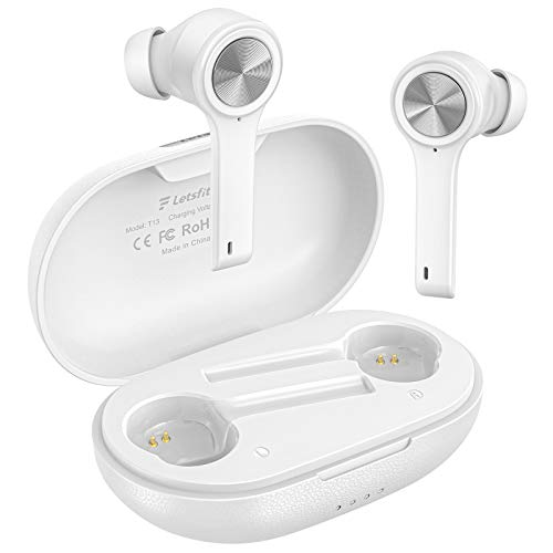 Wireless Earbuds, Letsfit Bluetooth 5.0 Headphones TWS Stereo Touch Control Earbuds with Charging Case, IPX5 Waterproof in-Ear Sport Earphones with Mic for Running Gym Workout White