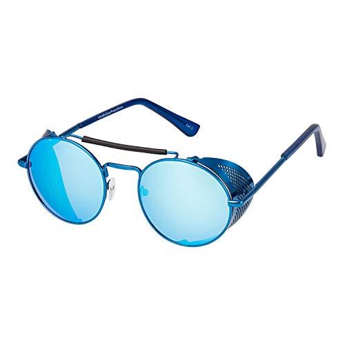 UltraByEasyPeasyStore Gafas de Sol con Protección Lateral Retro Steampunk Azules Mujeres y Hombres Gafas Metálicas Góticas Circulares Cosplay Unisex con Protección UV400