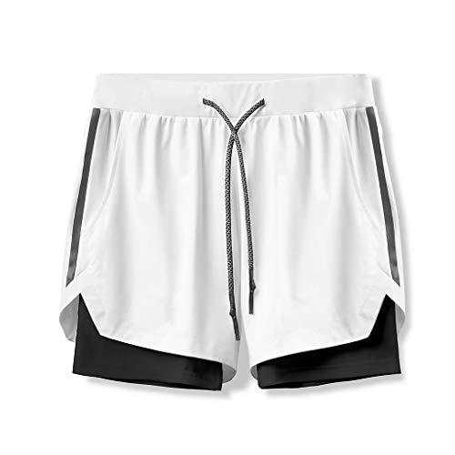 ZAYZ Shorts de Running Activos para Hombre Secado Rápido Entrenamiento de Entrenamiento de Gimnasio Pantalones Cortos 2 En 1 para Correr Fitness (Color : White, Size : L)