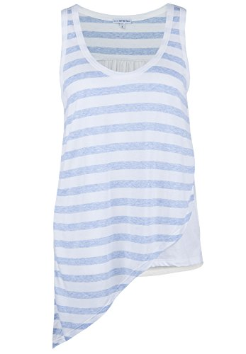 Better Rich Damen Top Stripe Mix Rückteil aus leicht transparentem, feinem Webstoff