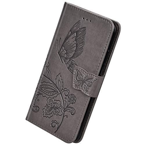 Herbests Kompatibel med Huawei P30 Lite fodral läder mobiltelefonfodral 3D fjäril blommor mönster Flip Cover Wallet Case Bookstyle plånbok skyddsskal magnetisk kortficka, grå
