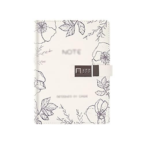 WPBOY Diario Cuaderno-A5 Diario De Escritura Trabajo Viaje Contraseña Cuaderno-Diario Masculino Y Femenino (Blanco)
