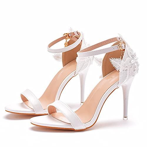 Shoudian Zapatos de tacón para mujer de 9 cm, con perlas blancas, correa para el tobillo, sandalias para banquete de boda, tacones finos, zapatos planos, Blanco, 36 EU