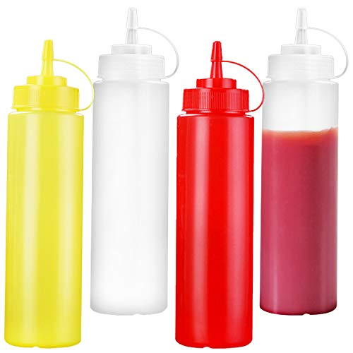 4 Stück Quetschflasche Squeeze Flasche mit Graduierung und Spitzenkörper mit Deckel, für Tomatensauce, Salate und Mayonnaise, 250 ml
