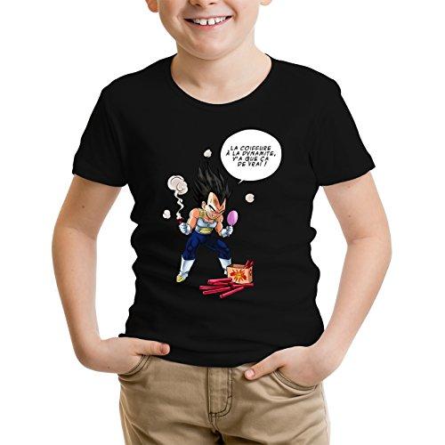 Okiwoki T-Shirt Enfant Garçon Noir Parodie Dragon Ball Z - DBZ - Végéta - Astuce pour se coiffer Le Matin ! (T-Shirt Enfant de qualité Premium de Taille 13-14 Ans - imprimé en France)
