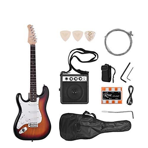 YOUSHI 21 Saiten 6 Saiten E-Gitarre Massivholz Paulownia-Korpus und Hals aus Ahornholz, mit Gitarrenteilen und Zubehör notwendig für Lautsprecher (Farbe: Chaoyang Linkshänder)