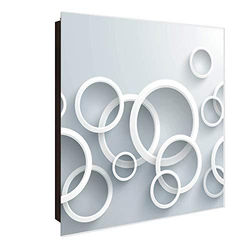 banjado Großer Schlüsselkasten aus Glas | Schlüsselbox mit 50 Haken | beschreibbare Glastür Scharnier Rechts | als Magnettafel nutzbar | Schlüsselaufbewahrung 30cm x 30cm | Motiv Weiße Ringe