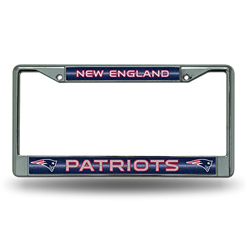 NFL Rico Industries Bling Chrome License Plate Frame with Glitter Accent, New England Patriots