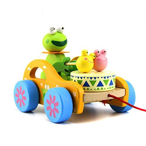 FakeFace Baby Trommel Kaninchen Frosch Spielzeug Nachziehtier aus Holz, Auto mit Rad Push und Pull Spielzeug Nachziehspielzeug Ziehtiere ab 1 Jahr für Babys Kleinkinder