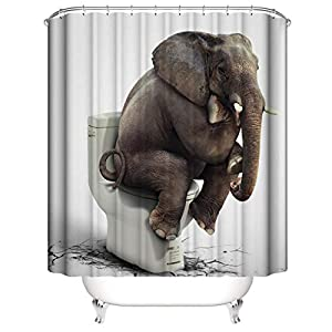 Elephant Shower Curtain Funny Indian Elephant Sitting on Toilet Design Kids Animal Shower Curtains for Bathroom 70.86x70.86 Inch Waterproof Fabric Bathroom Decor with Hooks-Toilet elephant